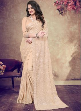 Catchy Peach Bridal Classic Designer Saree