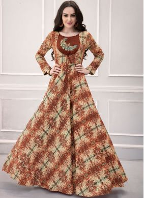 Catchy Rayon Printed Designer Gown