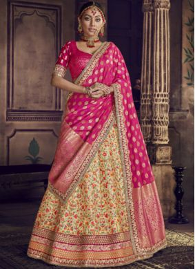 Catchy Resham Hot Pink and Yellow Lehenga Choli