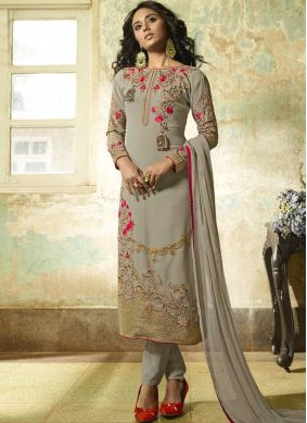 Celestial Embroidered Grey Faux Georgette Churidar Designer Suit