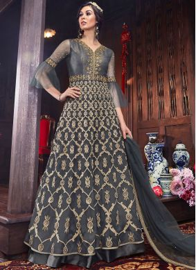 Celestial Embroidered Grey Net Floor Length Anarkali Suit