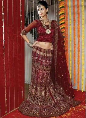 Celestial Net Maroon Fancy Lehenga Choli