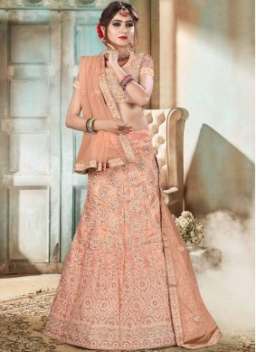 Celestial Organza Peach Embroidered Lehenga Choli