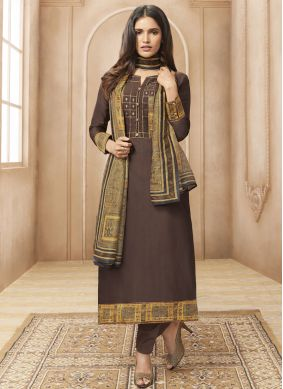Chanderi Brown Designer Straight Suit