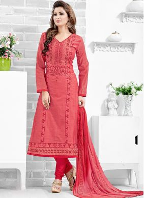 Chanderi Cotton Printed Salwar Kameez in Pink
