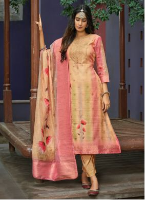 Chanderi Cream and Pink Handwork Pant Style Suit