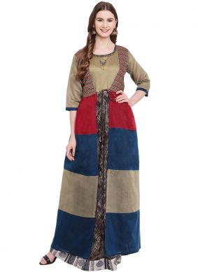 Chanderi Designer Gown in Multi Colour