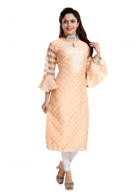 Chanderi Designer Kurti in Peach