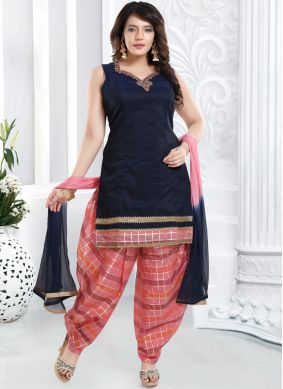 Chanderi Designer Patiala Suit in Blue