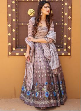 Chanderi Digital Print Multi Colour Floor Length Designer Suit