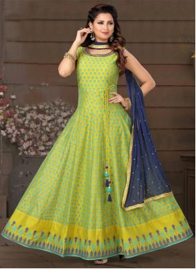 Chanderi Embroidered Green Readymade Suit