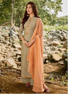 Chanderi Embroidered Palazzo Suit