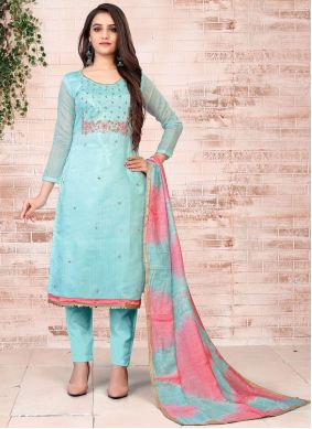 Chanderi Embroidered Pant Style Suit in Turquoise