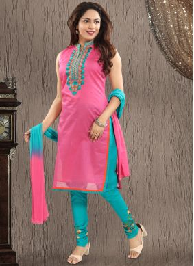 Chanderi Embroidered Pink Salwar Suit