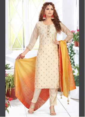 Chanderi Embroidered Readymade Suit in Cream