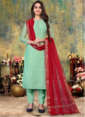 Chanderi Embroidered Turquoise Pant Style Suit