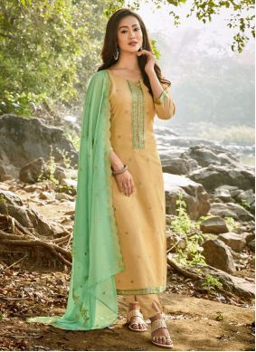 Chanderi Embroidered Yellow Pant Style Suit