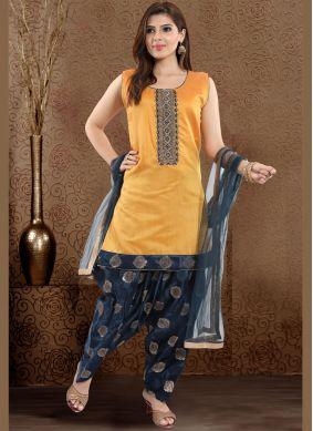 Chanderi Fancy Readymade Suit in Yellow