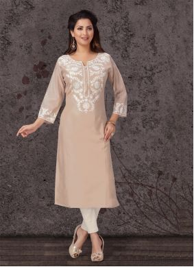 Chanderi Cream Festival Casual Kurti