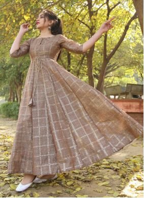 Chanderi Foil Print Brown Trendy Gown