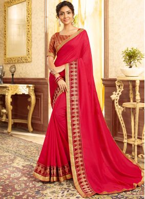 Chanderi Hot Pink Embroidered Traditional Saree