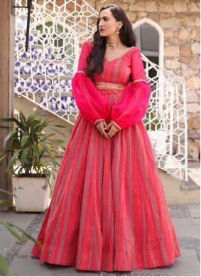 Chanderi Lehenga Choli in Hot Pink
