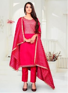 Chanderi Pant Style Suit in Hot Pink