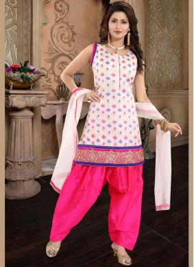Chanderi Pink and White Designer Patiala Suit