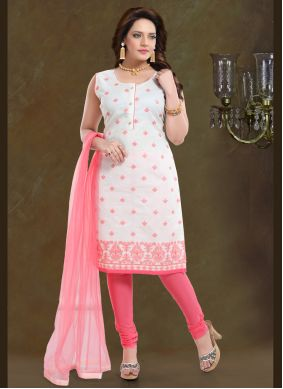 Chanderi Pink Readymade Suit