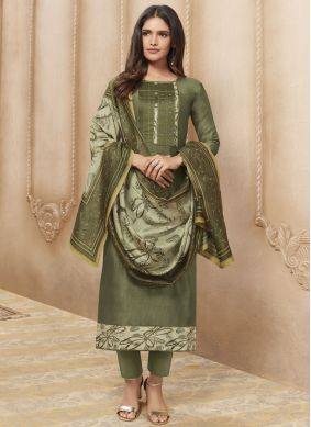 Chanderi Print Designer Straight Suit in Green