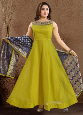 Chanderi Readymade Anarkali Suit in Green