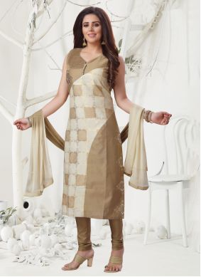 Brown Chanderi Reception Salwar Suit