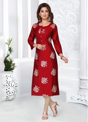 Chanderi Red Embroidered Churidar Salwar Suit