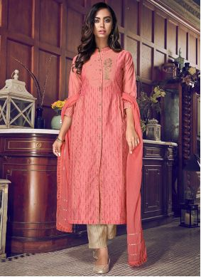 Chanderi Silk Embroidered Pant Style Suit in Pink