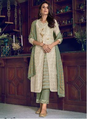 Chanderi Silk Green and Off White Designer Suit