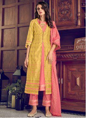 Chanderi Silk Yellow Pant Style Suit