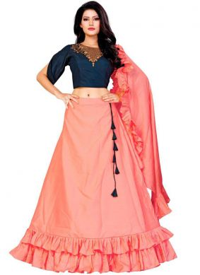 Charismatic Embroidered Peach Trendy A Line Lehenga Choli