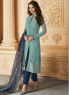 Charismatic Faux Georgette Embroidered Pant Style Suit