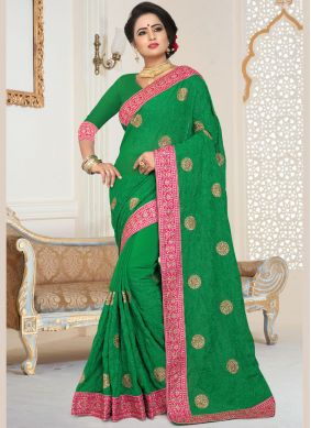 Charismatic Green Embroidered Faux Georgette Classic Designer Saree