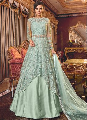 Charismatic Net Embroidered Turquoise Trendy A Line Lehenga Choli