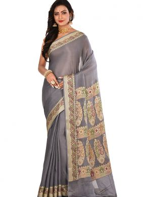Charming Art Banarasi Silk Weaving Grey Designer Traditional Saree