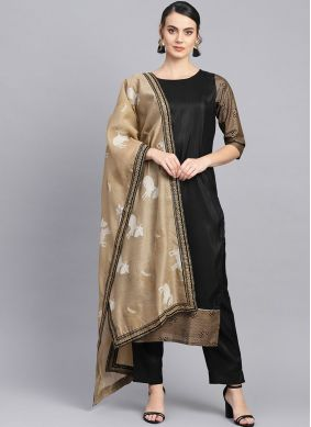 Charming Fancy Poly Silk Black Readymade Suit