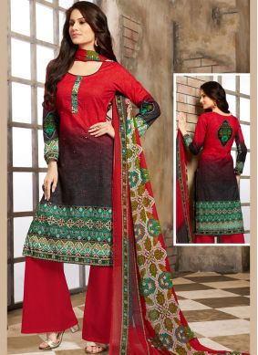 Charming Mirror Red Cotton Trendy Palazzo Salwar Suit