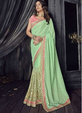 Cherubic Embroidered Faux Georgette Green Classic Saree