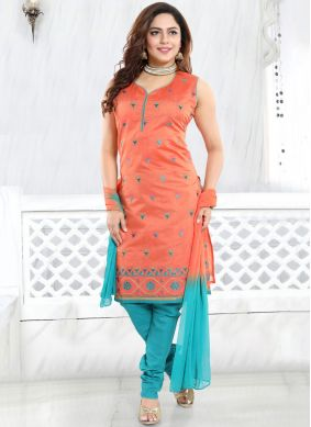 Chic Chanderi Ceremonial Churidar Designer Suit