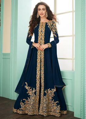 Chic Embroidered Georgette Navy Blue Designer Suit