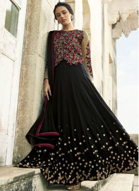Chic Faux Georgette Zari Floor Length Anarkali Suit