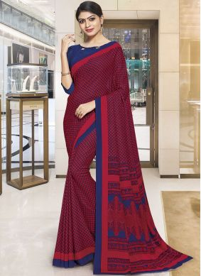 Chic Polly Cotton Red Casual Saree
