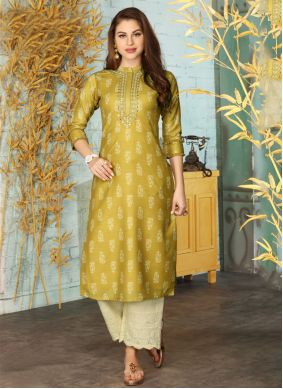Chicken Muslin Green Designer Kurti