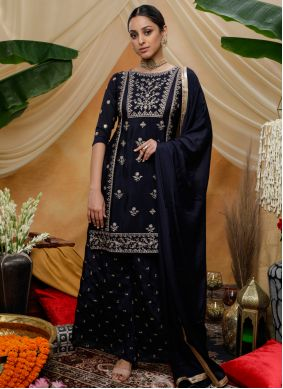 Chinon Embroidered Bollywood Salwar Kameez in Navy Blue